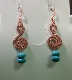 Handcrafted & Hand Hammered Copper and Turquoise Earrings
