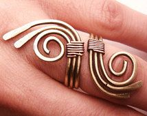 Wire Wrapped Brass and Copper Adjustable Ring - wire wrapped ring handmade - wire wrapped jewelry handmade