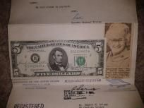 Letter From Dorothy Andrews Elston w/dual signatures on 1969 $5 Note!
