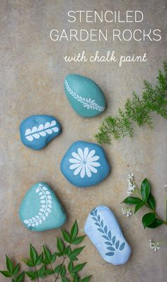 Painted garden rocks - using botanical stencils and chalk paint. So pretty!