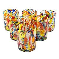 Unique Handblown Recycled Glass Juice Drinkware from Mexico