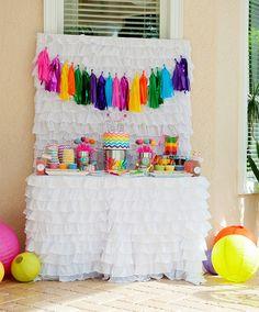 chevron rainbow art party dessert table