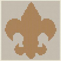 GOLD Cross Stitch Pattern Fleur de Lis Flower Lily French Symbol PDF Download
