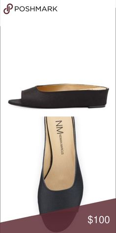 """Neiman Marcus Slides Neiman Marcus grosgrain sandal. 1"""" wedge heel. Open toe. Slide style. Padded footbed. Smooth outsole. Imported. Neiman Marcus Shoes Mules & Clogs"""
