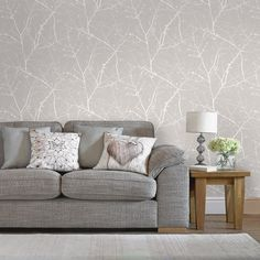A beautiful ombre mica sweeps through this tranquil natural twig design wallpaper, underpinned by a delicate calico fabric effect. This mushroom wallpaper design is subtle enough to use across an entire room whilst still making a real design statement.