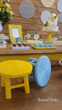 Chá de Bebê Chevron Cinza, Amarelo e Azul