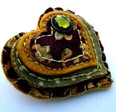 Shabby chic vintage style brooch Burgundy Autumn by mollymoodesign