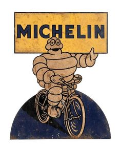 Michelin cycle tyre die-cut tin sign, made in Belgium... Click VISIT to find a major archive of Motor Memorabilia on MAD On Collections...   You can also check us out on Facebook - https://www.facebook.com/madonccars/...   Please feel free to pin or share this item.