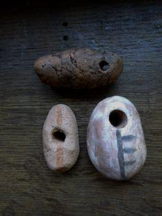 Artisan made ceramic pendants - amulets - talismans - set of 3 by vLaDtHeBaT on Etsy