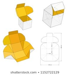 Packaging Ideas Discover Cube Self Assembly Diecut Pattern Stock Vector (Royalty Free) 1152722129 Similar Images Stock Photos & Vectors of Delivery Food Packaging and Die-cut Pattern - 1503341402 Candle Packaging, Box Packaging, Cool Paper Crafts, Diy Paper, Paper Box Template, Origami Paper Art, Diy Gift Box, Packaging Design Inspiration, Box Design