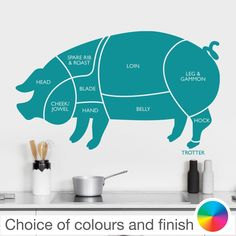 PORK PIG Cuts of Meat Diagram Wall Sticker Home Decor Kitchen