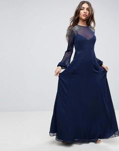 a82bcab70a5 ASOS Sheer Sleeve Maxi Dress with Embellished Shoulder Detail.  ad  Verzieren