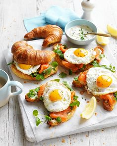 A Delicious Egg & Trout Croissant Recipe For A Cafe-Style Brunch At Home In the mood for a fancy brunch at home come the weekend? Look no further than this delicious egg and trout croissant recipe. Brunch Recipes, Breakfast Recipes, Breakfast Cafe, Brunch Ideas, Croissant Recipe, Croissant Sandwich, Think Food, Cooking Recipes, Healthy Recipes