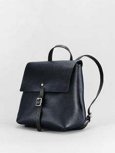 Small Buckle Backpack - Midnight - Alfie Douglas - minimal leather bags and backpacks handmade in London, England