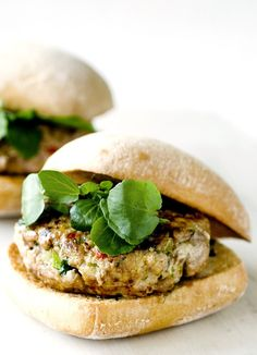 Serve with Asian Slaw Thai-style turkey burgers. Looking for a low-fat alternative to a beef burger? These healthy turkey burgers are kicked up a notch with Thai-inspired ginger and chilli. Turkey Burger Recipes, Turkey Burgers, Bbc Good Food Recipes, Cooking Recipes, Healthy Recipes, Healthy Meals, Bbc Recipes, Healthy Dishes, Thai Recipes