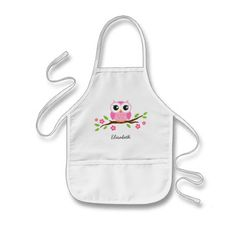 Cute pink owl on floral branch personalized name aprons