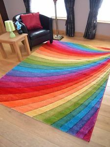 Modern Thick Dense Pile Bright Coloured Rainbow Floor MAT Rugs Long Hall Runners | eBay