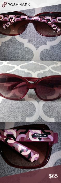 Authentic Coach Sunglasses Perfect Condition Purple/Maroon frames with Signature C art deco Logo on outer earpieces Style of Coach Sunglasses is called PINK  **PLEASE CHECK OUT ALL MY LISTINGS! AWESOME NEW ITEMS ADDED DAILY!** Coach Accessories Sunglasses