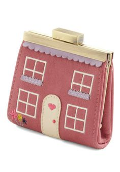House Fund Wallet by Ollie & Nic - Pink, Multi, Embroidery, Scallops, Quirky, Good, International Designer, Novelty Print, Valentine's