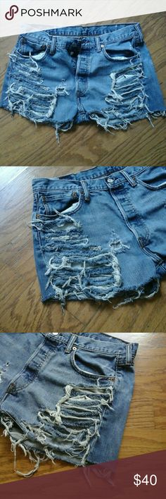 Custom grunge levi button fly shorts sz 10 Custom Vintage Upcycled Ripped Levi's Shorts