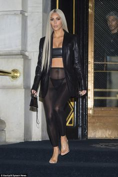 She debuted her silver white tresses at Tom Ford's show. And on Friday, Kim Kardashian paired her lighter locks with sheer leggings for the Daily Front Row's Fashion Media Awards. Kim Kardashian Hot, Estilo Kardashian, Kardashian Jenner, Kendall Jenner, Catsuit, See Through Leggings, Sheer Leggings, Kim K Style, Sheer Gown