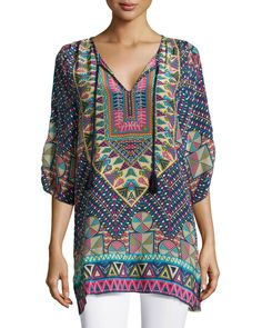 Tolani Stacey Silk Printed Long Tunic, Navy