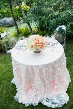 pretty table cover.  too much for me, but i like the idea of using lighter color over brighter with texture.