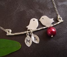Two Birds Necklace Red Pearl Initial Necklace by DanglingJewelry, $33.00