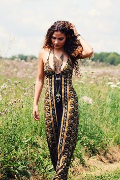 Free People Sabrina Tiered Pendant, Chain Mail Collar, Tallow Verve Maxi Dress