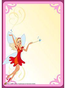 Un papier à lettre avec une fée princesse en robe rouge, à imprimer
