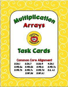 This set of attractive task cards will reinforce students association with basic multiplication facts and related visual arrays.  INTERACTIVE: After examining the graphic representation displayed on each card, students will fill in the blanks for the rows and columns seen and the related basic multiplication fact. Students can then check their answers on the reverse side of each card for accuracy.  VERSATILTY: With lamination, these cards can be used over and over by students, utilizing a…