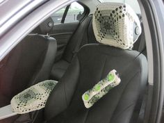 Crochet Granny Square Car Seat Belt Cozy, Headrest Cover, and Console Cover Crochet Car, Crochet Granny, Hand Crochet, Heated Car Seat Covers, Car Life Hacks, Cover Gray, Crafts To Make And Sell, Center Console, Baby Car Seats