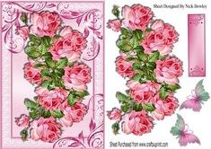 Beautiful wild pink roses with butterflies on Craftsuprint - Add To Basket!