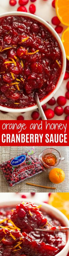 cranberry sauce Cranberry sauce with orange, cinnamon and honey. There's no match for homemade cranberry sauce! Cranberry relish bursting with real juicy cranberries. Cranberry Orange Sauce, Cranberry Recipes, Orange Recipes, Honey Recipes, Thanksgiving Recipes, Fall Recipes, Holiday Recipes, Holiday Foods, Sauces