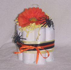 Halloween Baby Shower Mini Diaper Cake  Orange by BESTsilkWeddings, $4.50