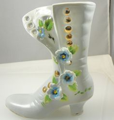 Vintage High Button Porcelain/ China Shoe Boot by SecondImpulse, $28.00