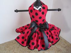 Dog Dress XS Red with Black Polkadots By by NinasCoutureCloset