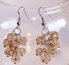 PLEASE COME ON IN AND VISIT MY SHOP..Champagne Cluster Glass Faceted Earrings