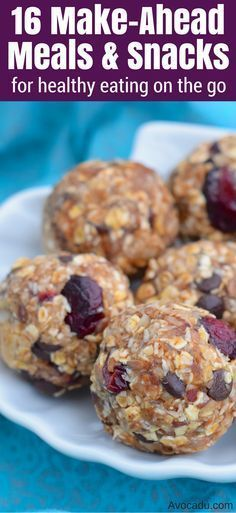These make ahead meals and snacks include healthy breakfast, lunch, and dinner. They're also super easy to make and perfect for on the go! http://avocadu.com/16-make-ahead-meals-and-snacks-for-healthy-eating-on-the-go/
