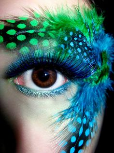 Awesome eye makeup with exotic feathers