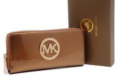 Michael Kors Mirror Metallic Circle Logo Purses Brown