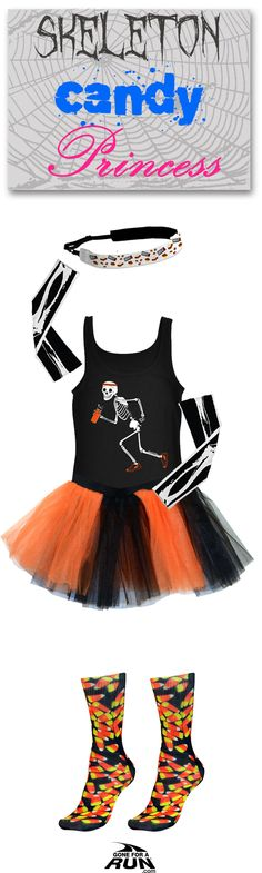 Trick or run? Get in a spooky fun mood with our #Halloween inspired running apparel! From shirts to socks and more, you'll find something to suit your haunted mood! No Halloween costume ideas? No problem! Add a little makeup and you're a full-blown skeleton candy princess!