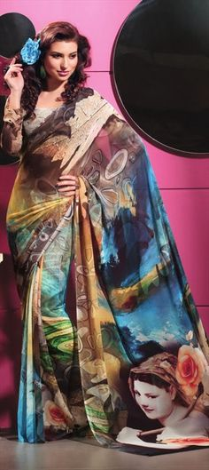 110434, Printed Sarees, Faux Georgette, Printed, Multicolor Color Family $42
