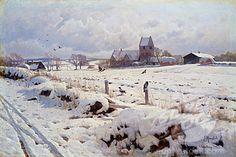 A Winter Landscape, Holonstrup Peder Mork Monsted (1859-1941 Danish) Oil on Canvas Christie's, London Stock Photo 866-3250 : Superstock