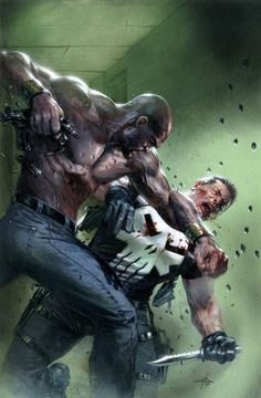 """league-of-extraordinarycomics: """"Luke Cage vs Punisher by Gabriele Dell'Otto """" Marvel Girls, Marvel Vs, Luke Cage Marvel, Marvel Comics Art, Marvel Comic Books, Marvel Heroes, Comic Books Art, Punisher Comics, Comic Art"""