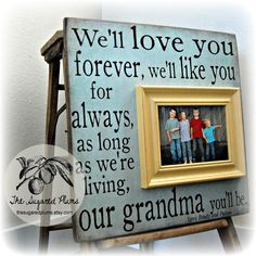 Gift For Grandma, Mothers Day, Grandparents Gift, Mom, Grandmother, Grandpa, Grandfather, Fathers Day, Personalized Picture Frame 16x16. $75.00, via Etsy.