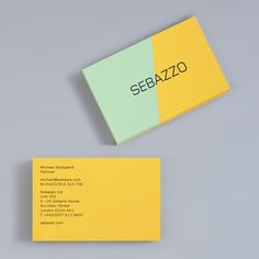 Logo and business card constructed from coloured board using a marquetry technique designed by Bunch for digital design studio Sebazzo. Featured on bpando.org