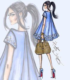 Hayden Williams Fashion Illustrations | 'Blue Pearl' by Hayden Williams