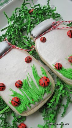 Red Couch Recipes:  Decorated Sugar Cookies -- Lady Bug in Mason Jars  -- so cute and fun for the spring!