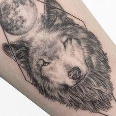 black and white dotwork geometrical wolf tattoo